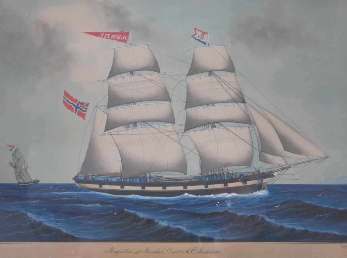Seilskute, bark/ mot høyre, fulle seil, unionsflagg
