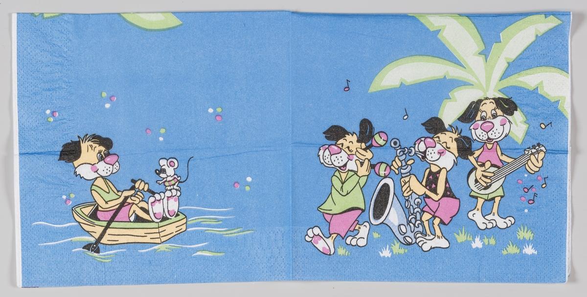 Tre figurer spiller musikk, men en fjerde sitter i en båt og ror sammen med en mus.