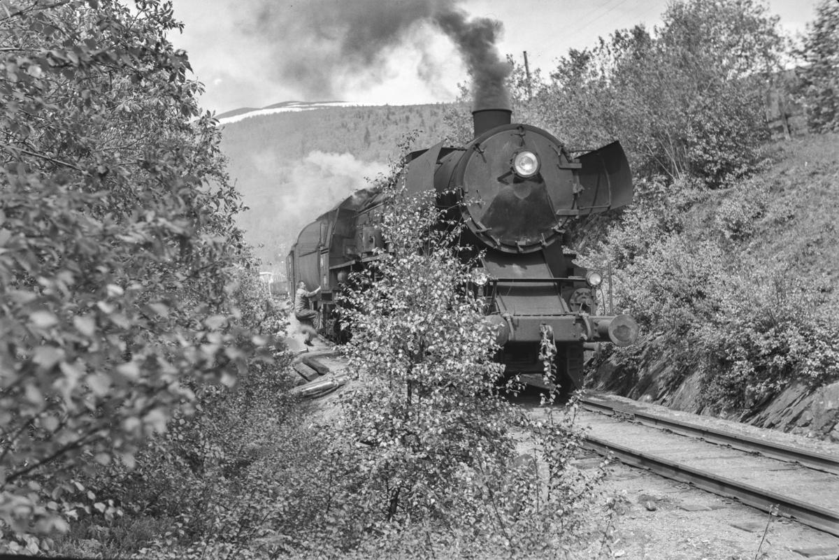 Underveisgodstoget fra Trondheim til Hamar over Røros, tog 5712, under skifting på Ålen stoppested.