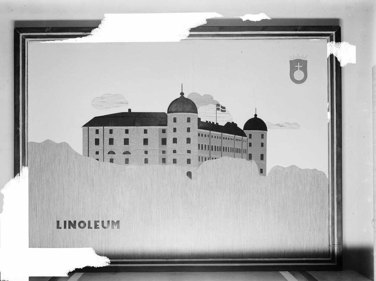 Reklamskylt av linoleumbitar. Vy över Uppsala slott