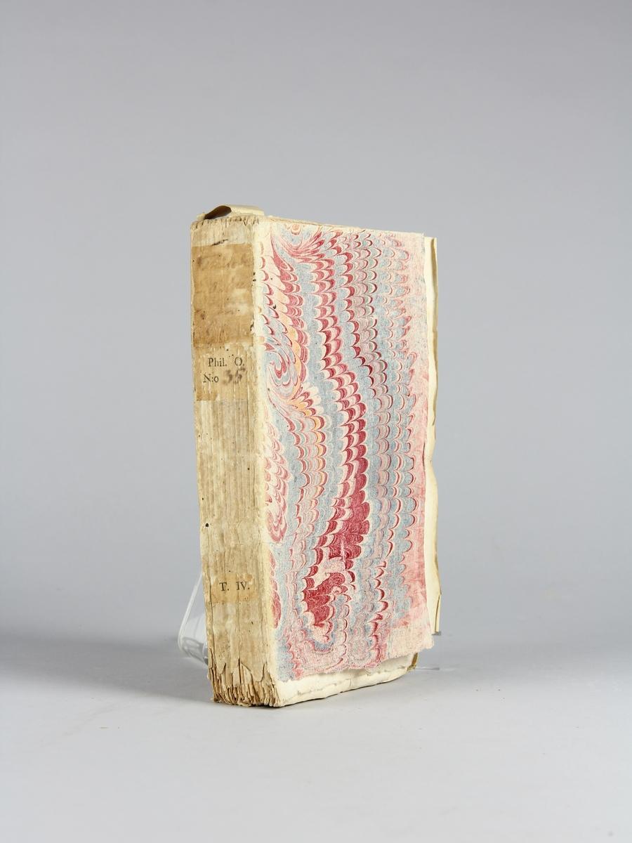 """Bok, häftad: """"Traité de l'opinion, ou mémoires pour servir à l'histoire de l'esprit humain"""", skriven av Gilbert Charles Le Gendre, utgiven i Paris 1733. Vol. 2, andra delen.  Pärm av marmorerat papper, oskurna snitt. Ej uppsprättad. På ryggen påklistrade pappersetiketter med titel (oläslig), samlingsnummer och volymens nummer."""
