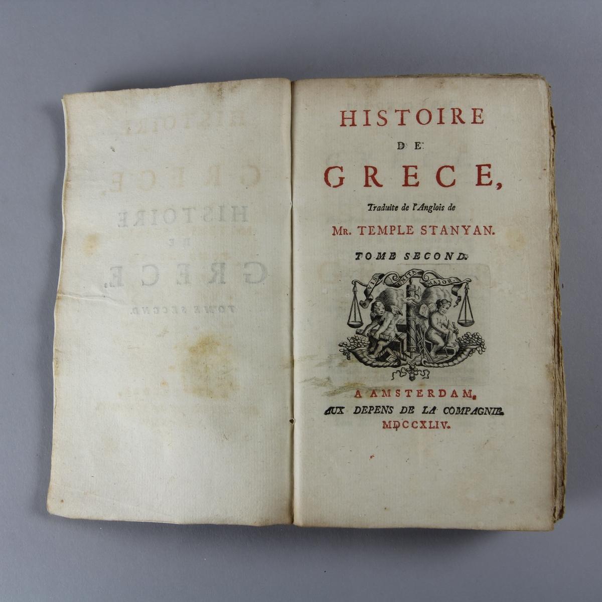 """Bok, häftad, """"Histoire de Grèce"""", del 2. Pärmar av marmorerat papper, oskuret snitt."""