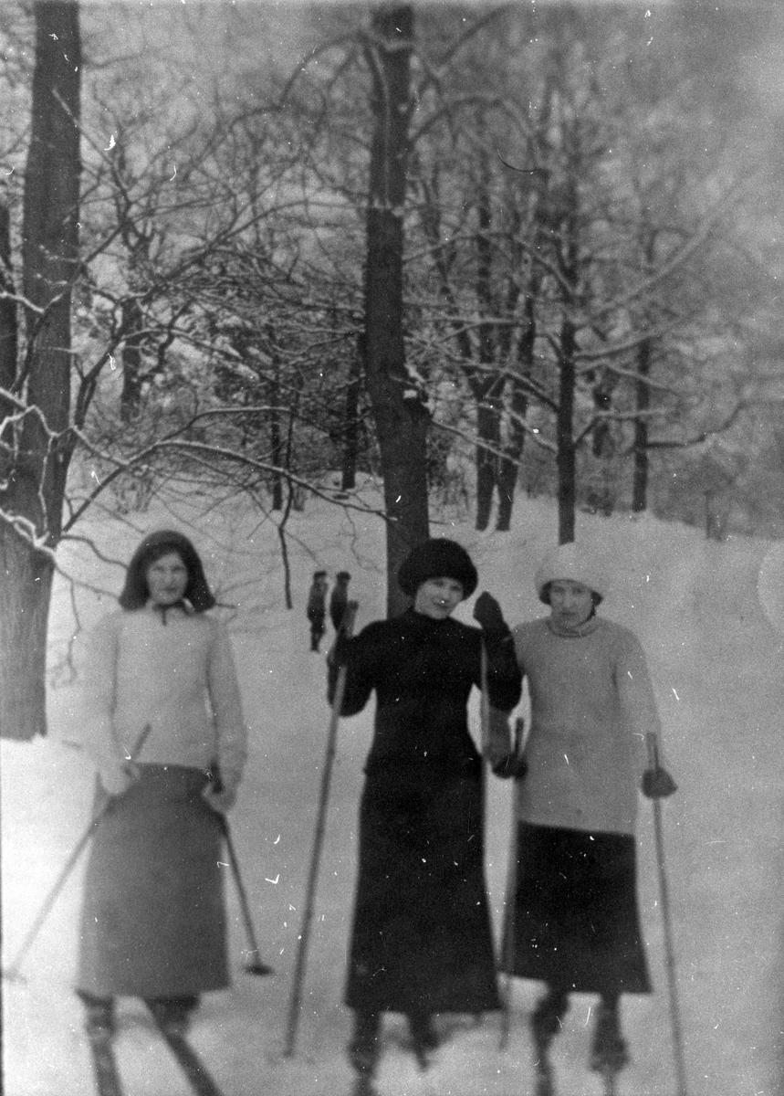 Skidåkare (damer i kjolar), 1916.