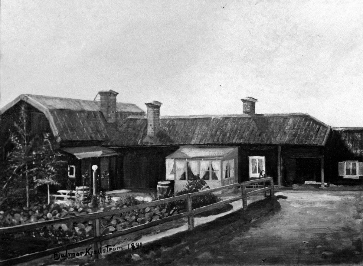 Målning av Hjalmar Kjellström 1891 Säfverströmska gården vid Jämmertunagatan. (Kjellström var gift med Rosa Säfverström, sondotter till schatullmakare J.P. Säfverström)