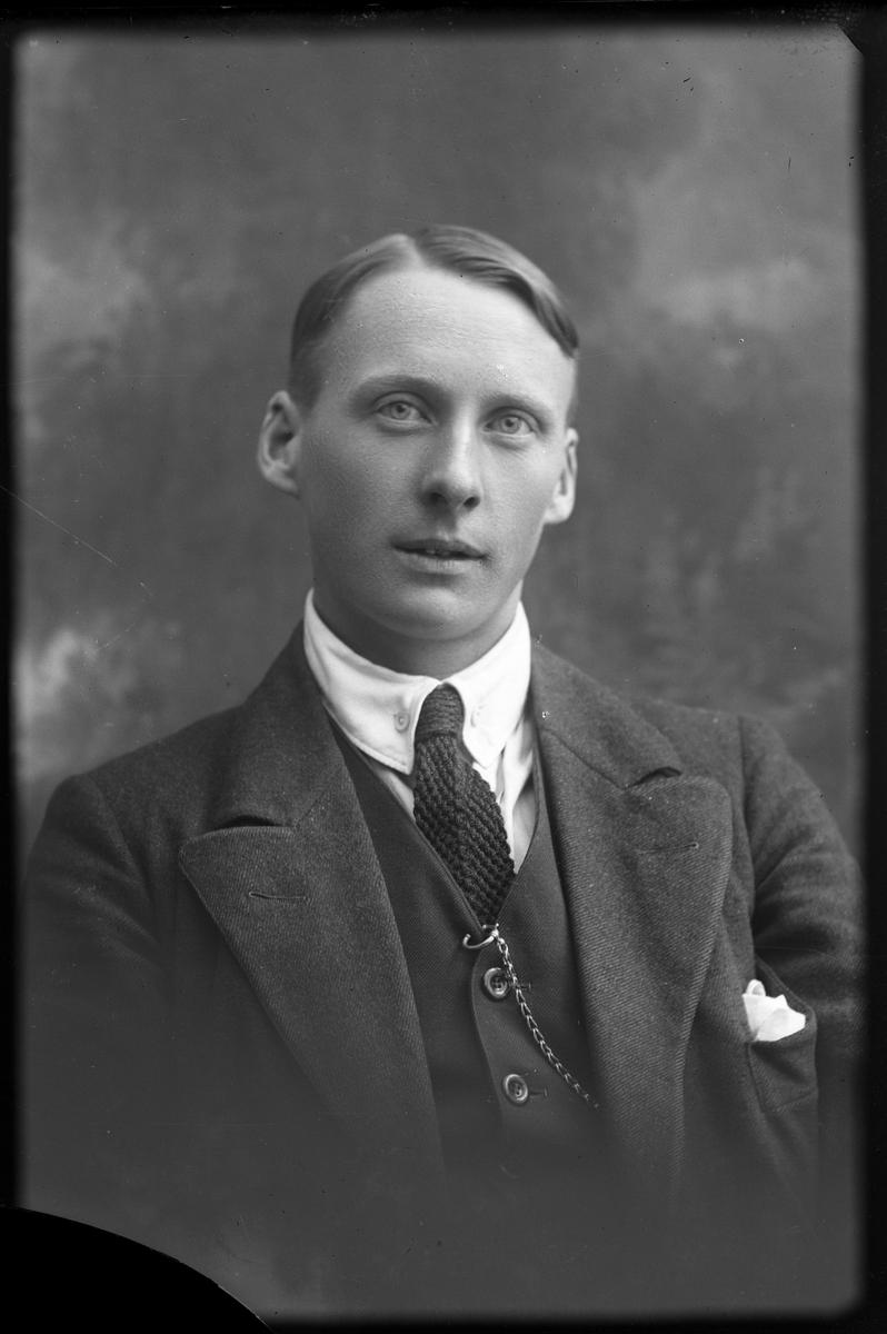 Porträtt av Karlström iklädd tredelad kostym, vit skjorta och slips.