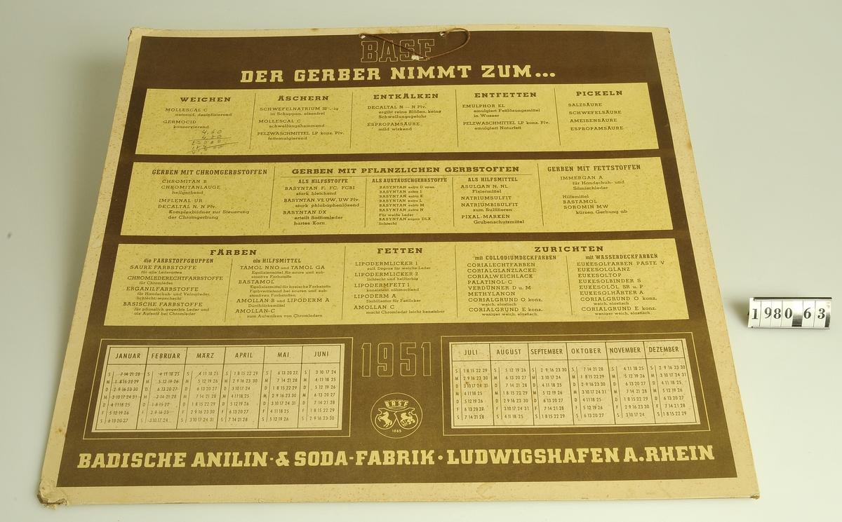 Reklam och almanacka från 1951, med text på tyska. Badische Anilin- & Soda-Fabrik, BASF.  Kommer från Bodéns garveri, Alingsås.
