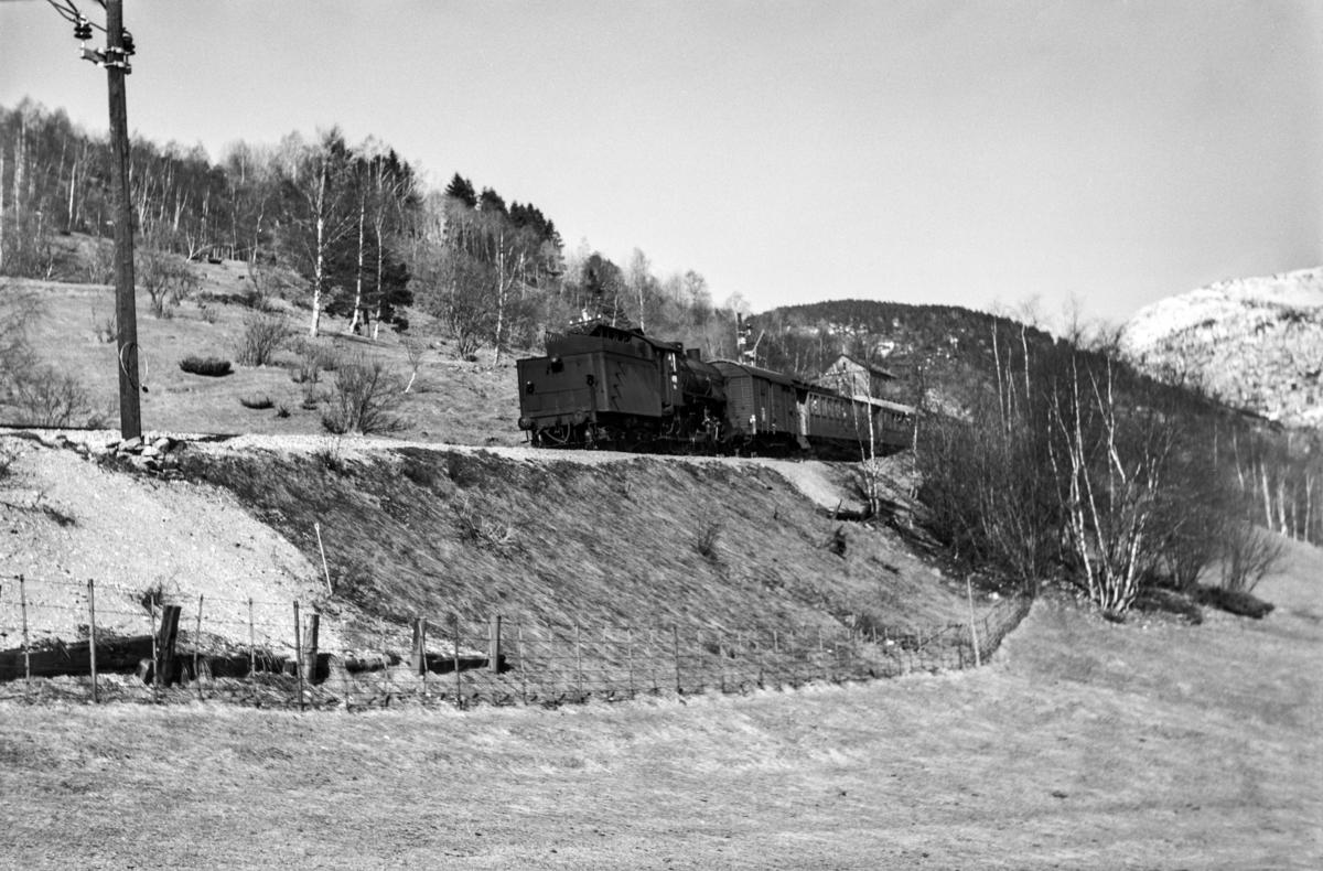 Påsketog retning Bergen, tog 7689, ved Gjerdåker, vest for Voss. Toget trekkes av damplokomotiv type 31b nr. 402.