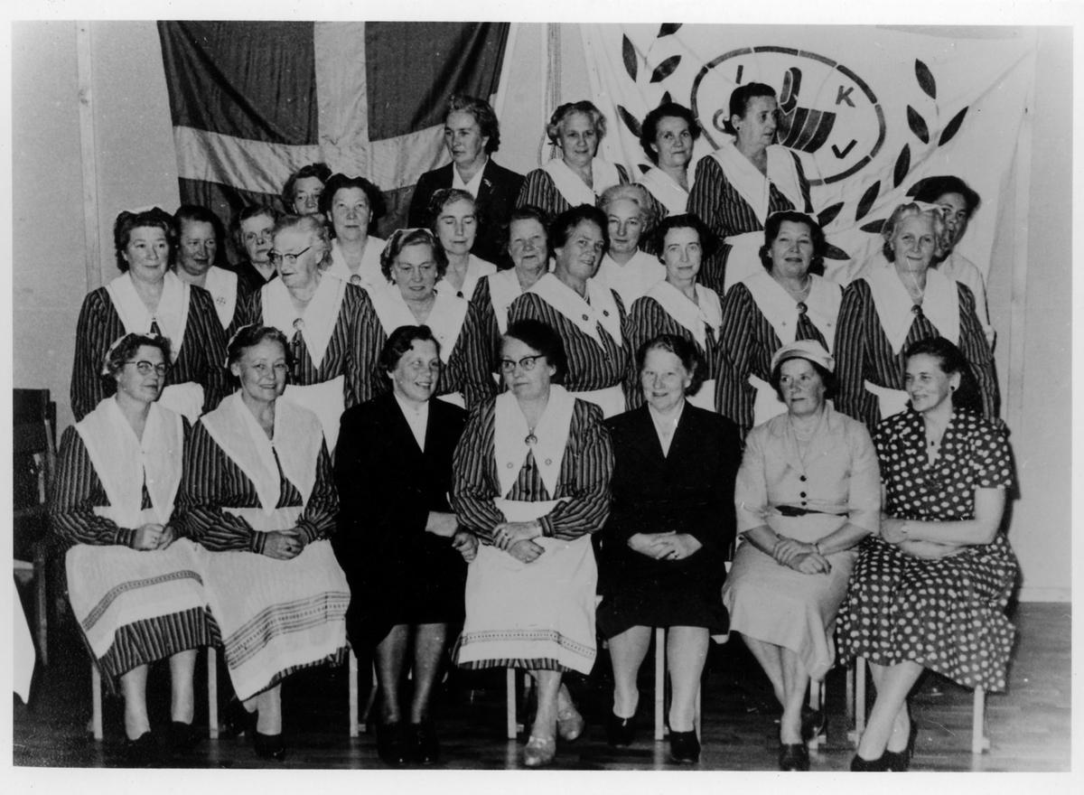 Gruppbild av 26 kvinnor från Alingsås Kooperativa Kvinnogille varav 19 står och sju är sittande. I bakgrunden ses svenska flaggan samt en organisationsflagga. Bilden tag under deras 25-årsjubileum 1933-1958.