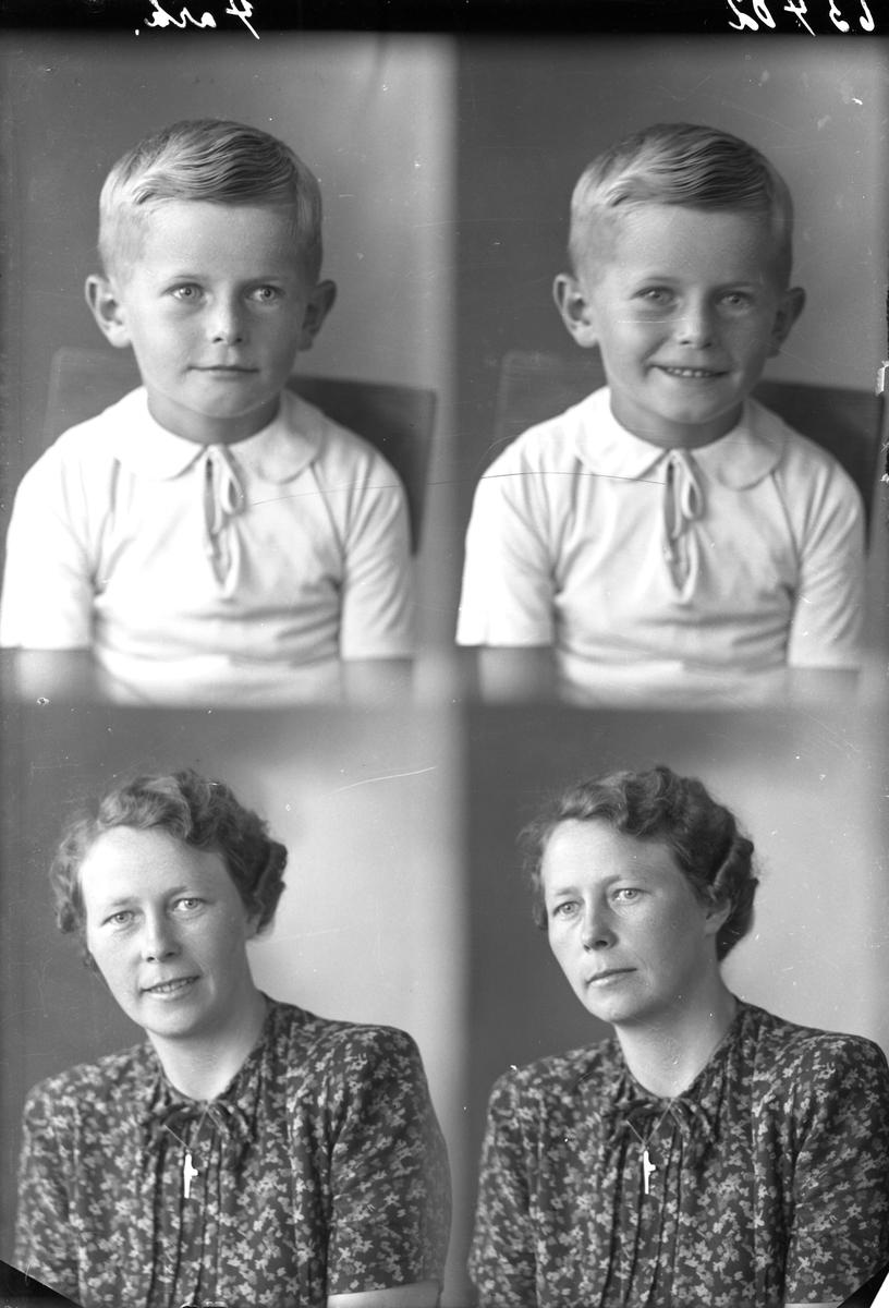 Portrett. Familie. Ung gutt og ung kvinne. Mor og yngste sønn. Bestilt av Fru Bergliot Morland. Skåregt. 216