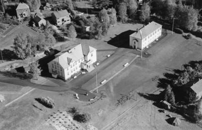 Bondelagets Folkehøgskole på Mysen i Eidsberg flyfoto 29. september 1952.. Foto/Photo