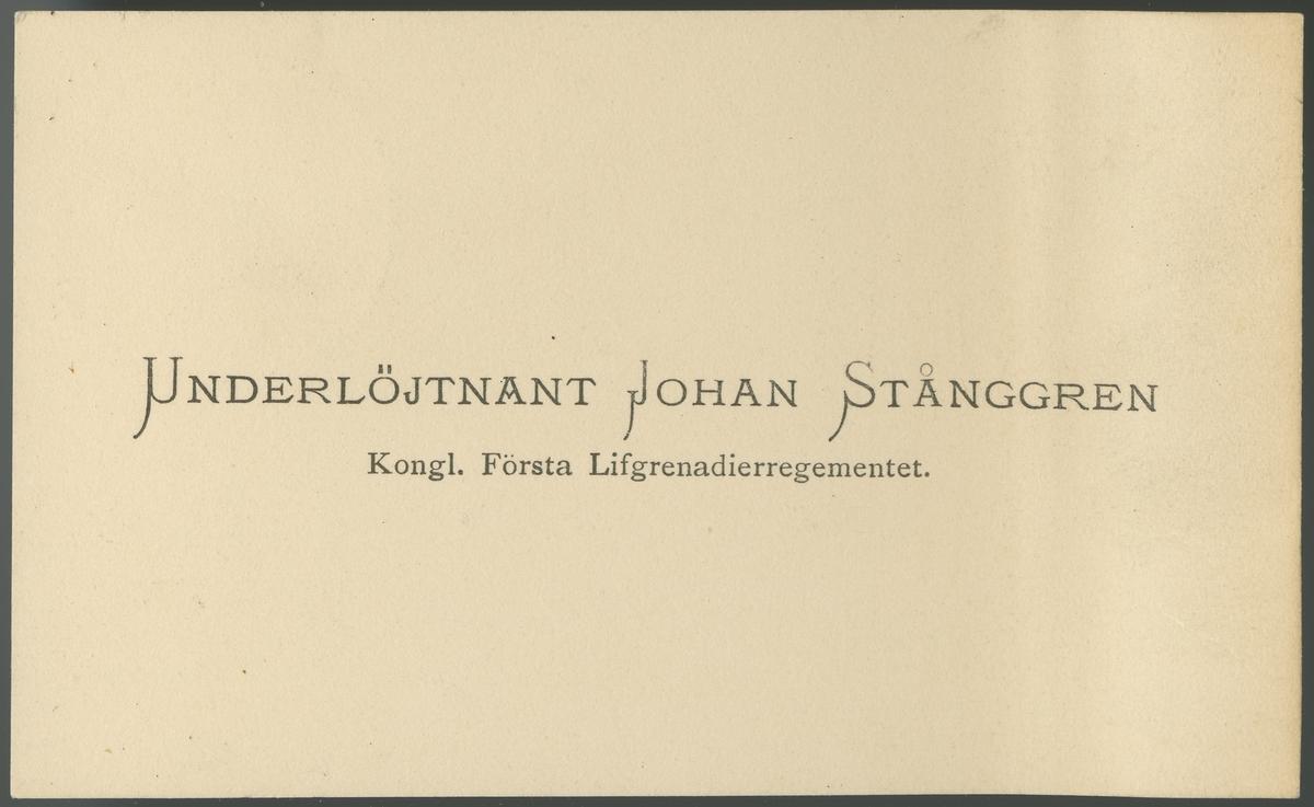 Porträtt av Johan Adolf Stånggren, underlöjtnant vid Första livgrenadjärregementet I 4.  Se även bild AMA.0008505 och AMA.0009532.