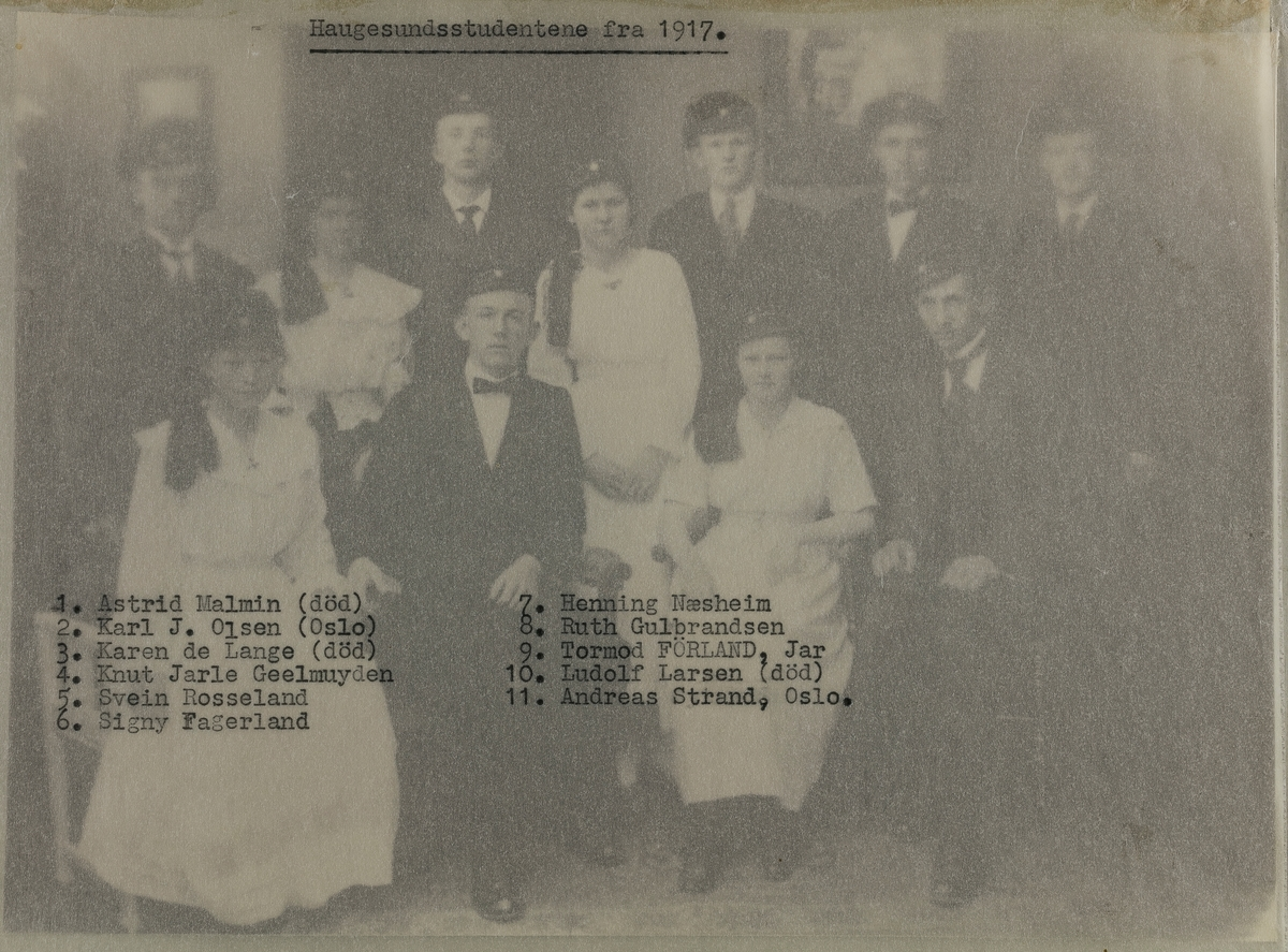Gruppebilder - Haugesundsstudentene fra 1917