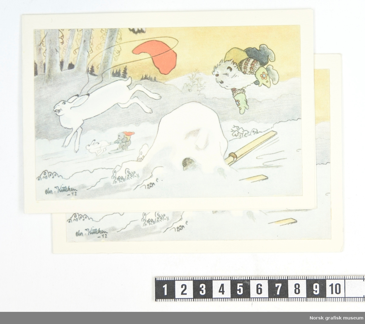 Skigående nisse som trekkes av en hare