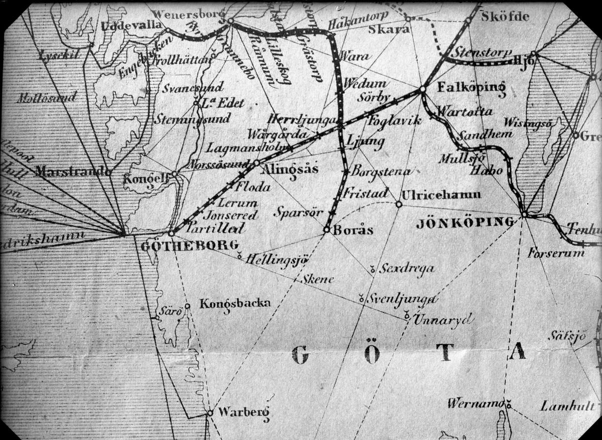 Karta Alingsas Boras.Karta Boras Herrljunga Jarnvagsmuseet Digitaltmuseum