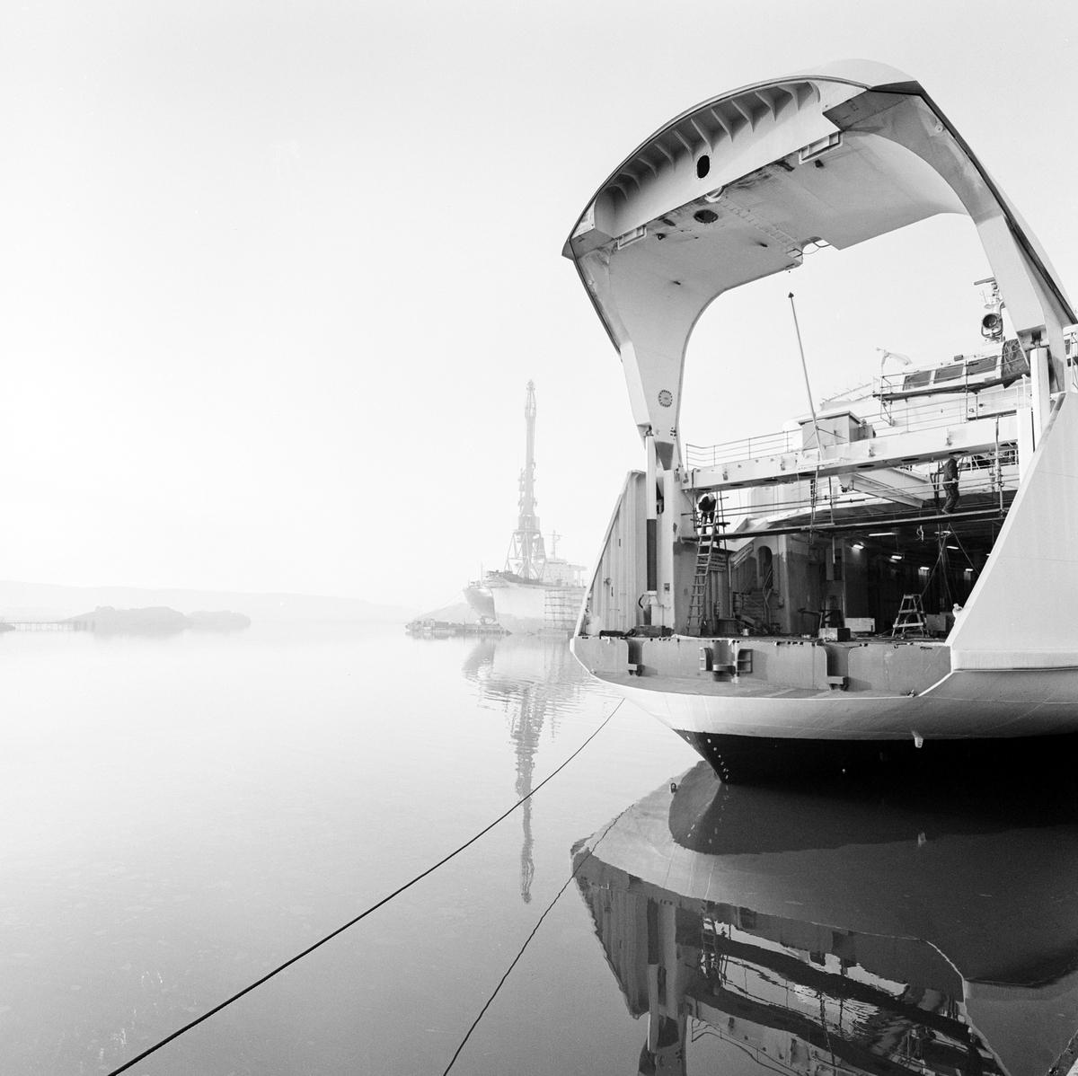 Tågfärja Skåne. Nybygge vid Uddevallavarvet. Tågfärja beställd 1965, för Statens Järnvägar