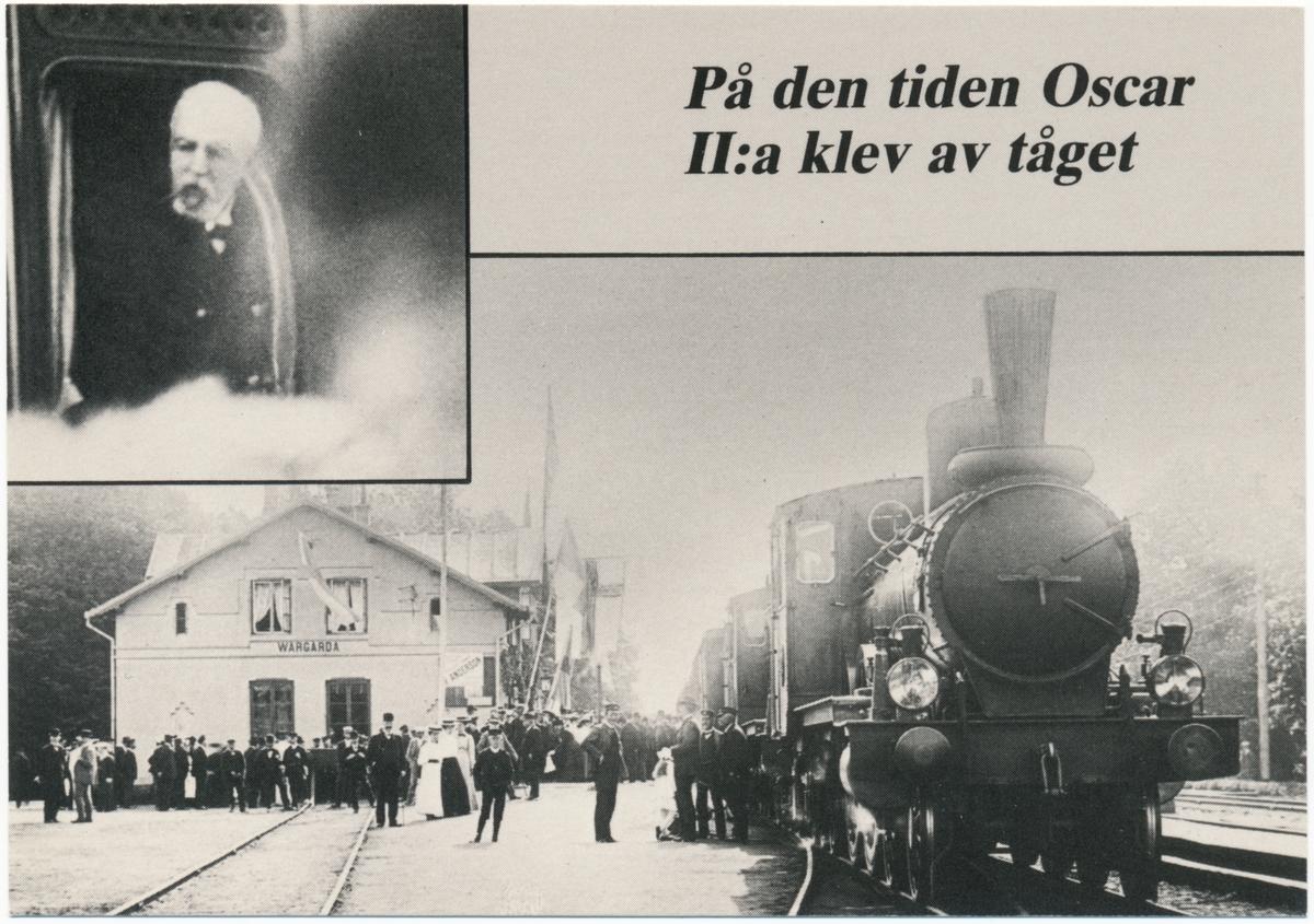 Vårgårda station. Statens Järnvägar, SJ.Oscar den II:s besök på Tånga Hed. Banan öppnades 1857, elektrifiering 1926 och fick dubbelspår 1954.