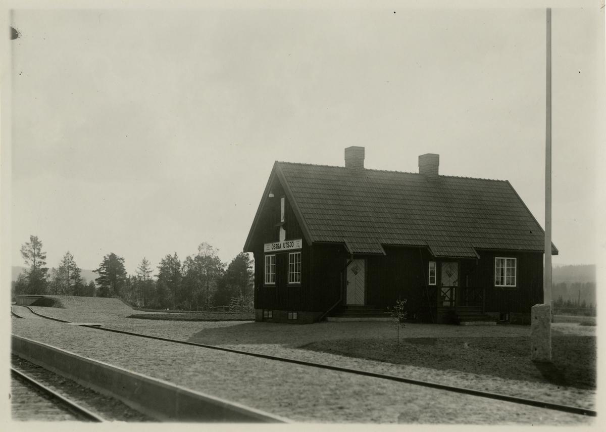 Östra Utsjö håll- och lastplats. Statens Järnvägar, SJ. Statsbanan Malung-Vansbro.