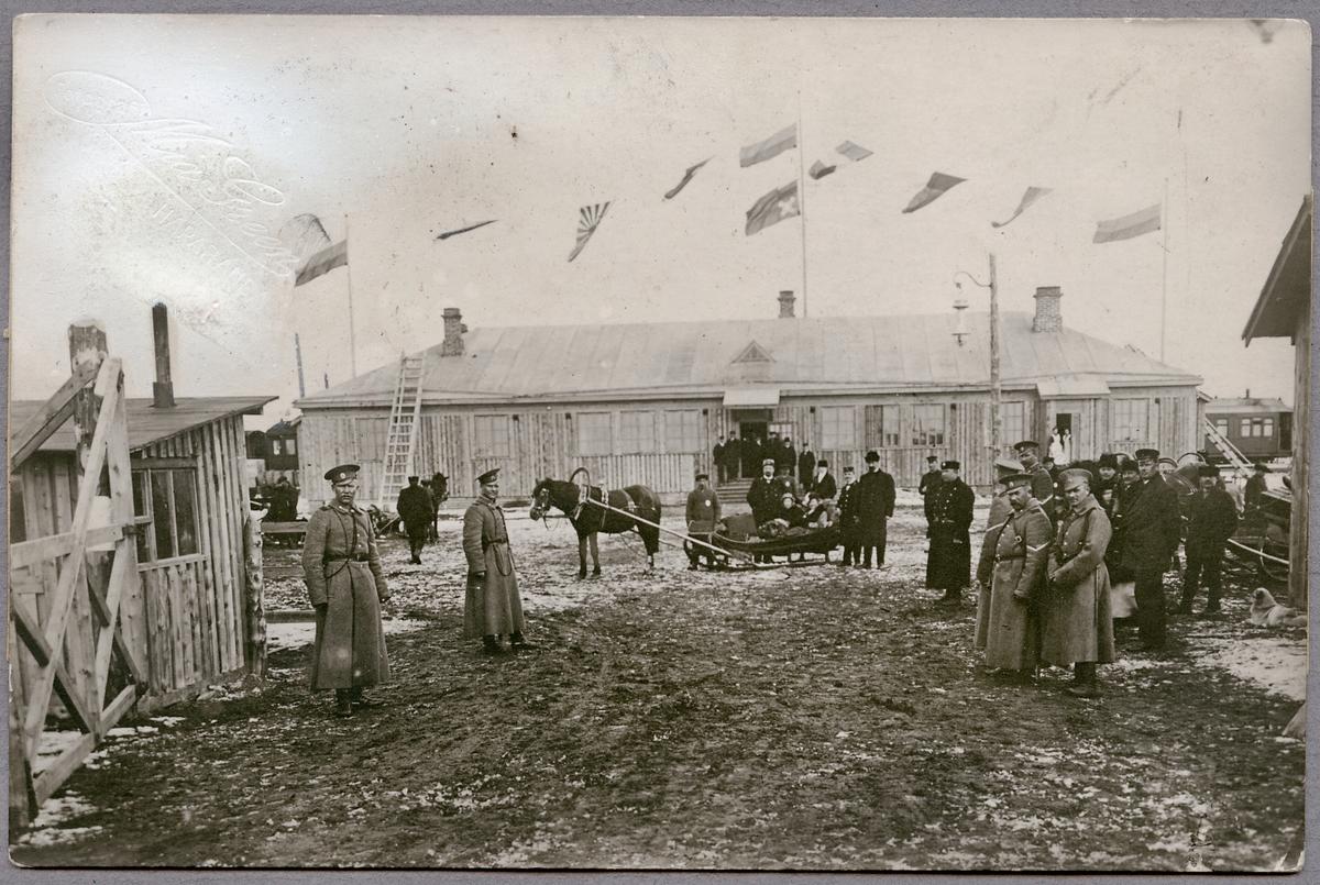 Finska Karunki station februari 1915 med bevakning av ryska gendermer.