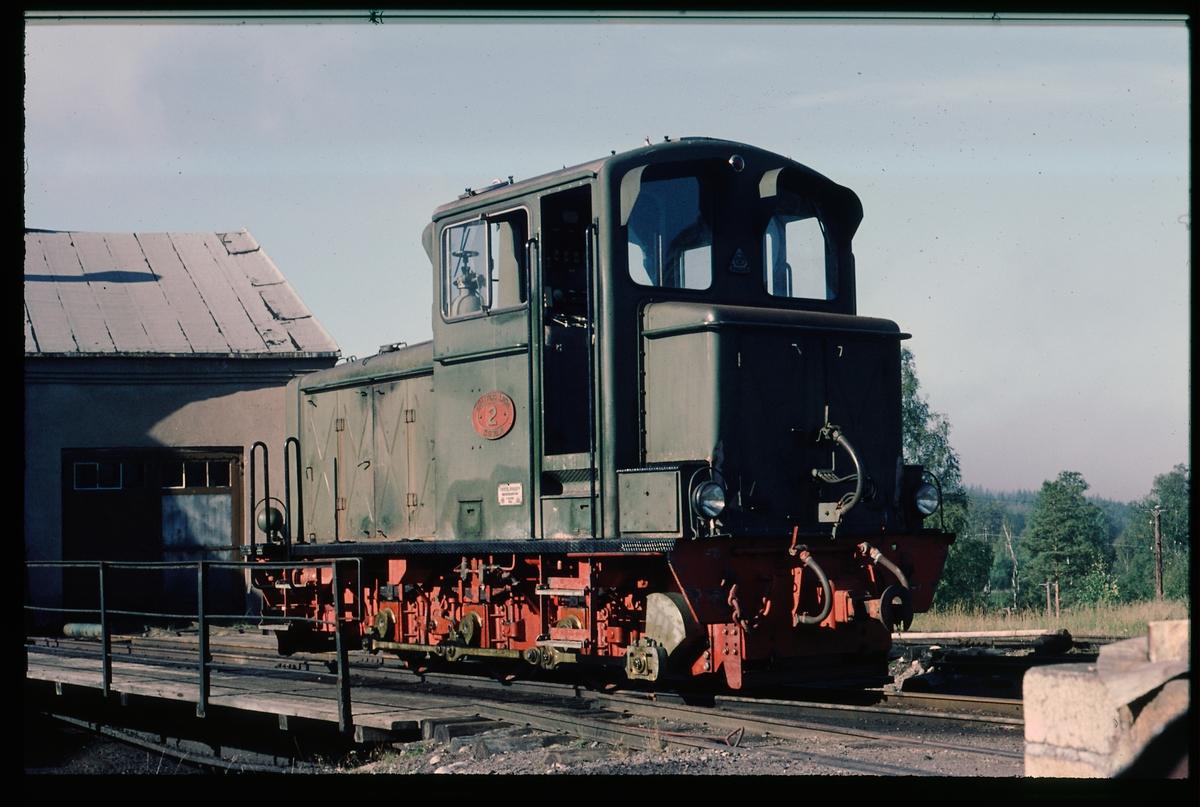 Hällefors Bruks AB, HBA lokomotor 2 på vändskivan i Fredriksberg.