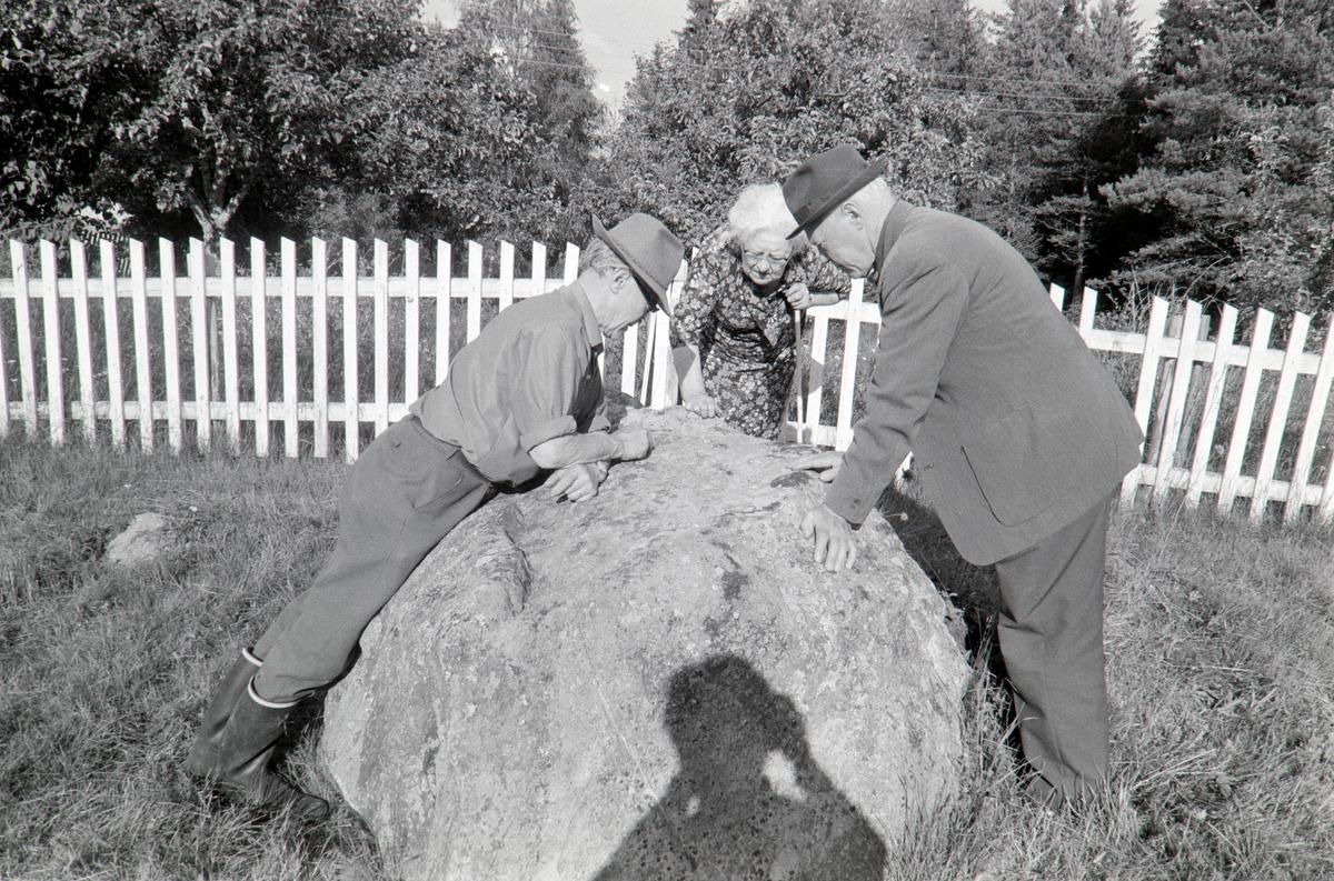 Torpet, stein med innskripsjon, ved Finnvegen, Grue, Finnskog. Asbjørn og Sigurd Holt, ukjent kvinne,