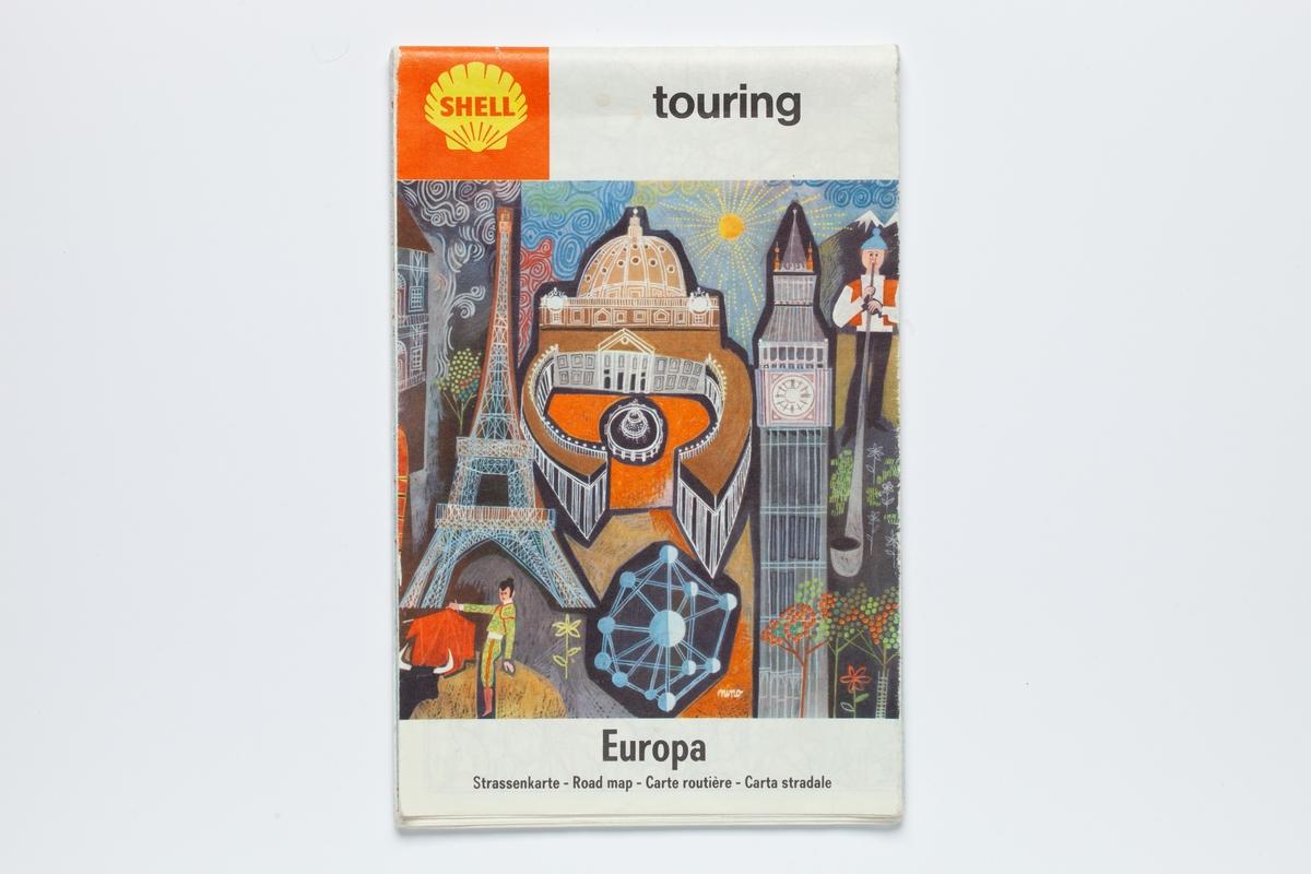 På forsiden er tegnet store severdigheter i Europa som Peters Plassen i Roma, Eiffeltårnet i Paris, en tyrefekter i Spania, Bigben i London, en mann som blåser i et lang horn i Alpene og en installasjon med solsystemet i Belgia.