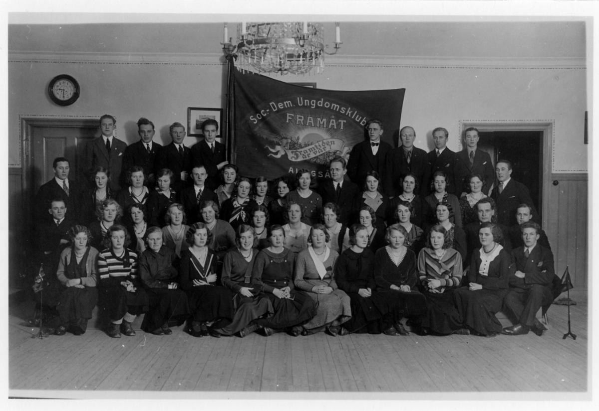 Gruppbild på Socialdemokratiska Ungdomsklubben Framåt, Alingsås.