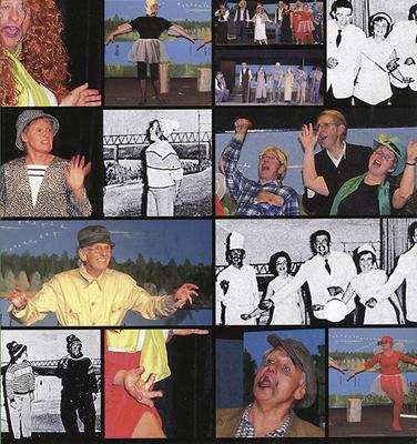 Collage av foto fra forskjellige revyforestillinger.. Foto/Photo