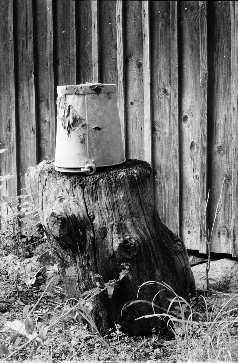 Stubbe med upp och nedvänd hink, gruvområdet, Dannemora Gruvor AB, Dannemora, Uppland augusti 1991