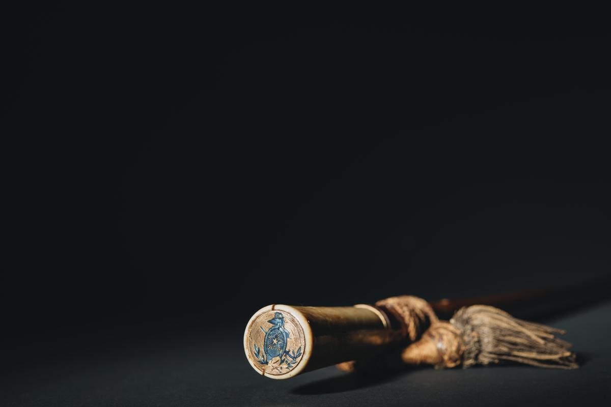 """Kommandostav samt gåvobrev. Av spanskt rör med handtag av elfenben och doppsko av mässing. Handtagets nedre ände är försedd med en 3 mm bred ring av förgylld metall med lagerkrans och ornament av blå emalj. I käppens övre cirkelrunda ände är infälld en rund skiva av guld, 23 mm diameter. Skivans runda fält innehåller vissa emblem i blå emalj, dels en sköld av antik form med förgylld, strålomgiven, femuddig stjärna, i mitten och vid övre spetsen en i profil ställd antik hjälm med fjäderbuske, dels en skölden korsande, men under densamma lagd värja med spetsen riktad uppåt (detaljer, något fritt utformade från adliga ättens Nordenskjölds vapen), dels under dessa emblem två korslagda lagerkvistar. Fältens botten ciselerade med delar av koncentriska cirklar, dess ytterkant med svagt antydd pärlrad, 103 mm, nedom käppens övre ände är röret genomborrat av ett ovalt, med förgylld metall, guld, fodral hål, L= 11 mm B = 7 mm. I hålet är fästad en flätad, tofsförsedd snodd (portepé) av mörknad guldtråd och gråblekt, måhända tidigare blått silke.  """"Gåvobrevet jämte stav överlämnades till chefen å jagaren Nordenskjöld den 9 oktober 1928 och skall staven förvaras å lämplig plats å fartyget och då fartyget utrangeras överlämnad till marinmuseet."""" Förvaras inom pärm av skinn, ljusbrunt, med ätten Nordenskjölds vapen i olika färger. Under vapnet: H.M. Nordenskjöld.  Pärmens längd: 435 mm, bredd: 265 mm."""