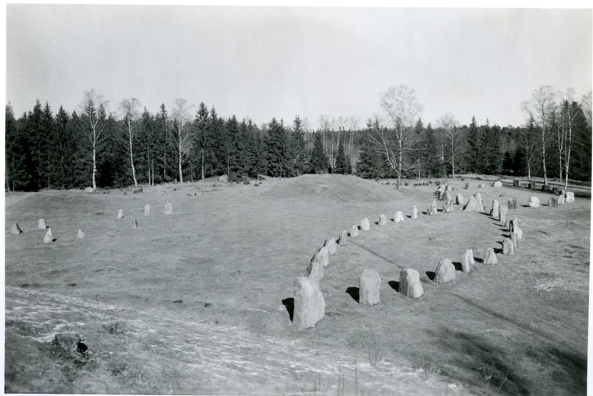 Badelunda sn, Anundshögsområdet, Långby. Skeppssättningar, 1938.