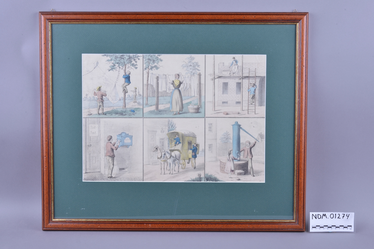 Plansjen har seks bilder og illustrerer ulike daglige gjøremål.