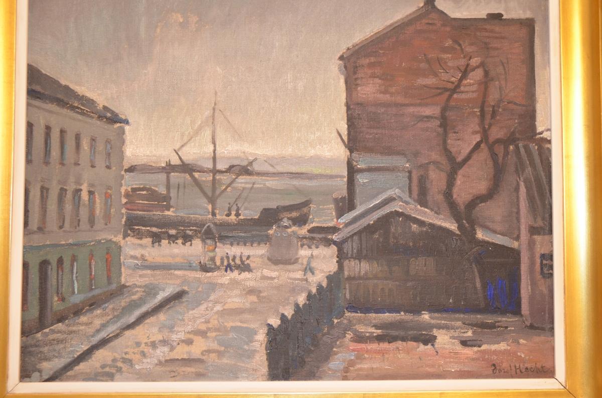 Olje maleri med motiv fra det gamle Piperviken i Kristiania. Laget mellom 1915 og 1918.  Josef Hecht (også kjent som Joseph Hecht) var en polsk-jødisk kunstner, grafiker og skulptør. Han ble født i Lodz, Polen, og var elev ved kunstakademiet i Krakow i årene 1909-1914. Ved utbruddet av første verdenskrig befant han seg i Berlin. For å unngå å bli dratt med i krigen, bestemte han seg for å reise til nøytrale Norge. Her oppholdt han seg frem til 1919. Under denne tiden produserte han mange grafiske trykk med landskapsmotiver, både fra Oslo (Kristiania) og Asker-Bærum.