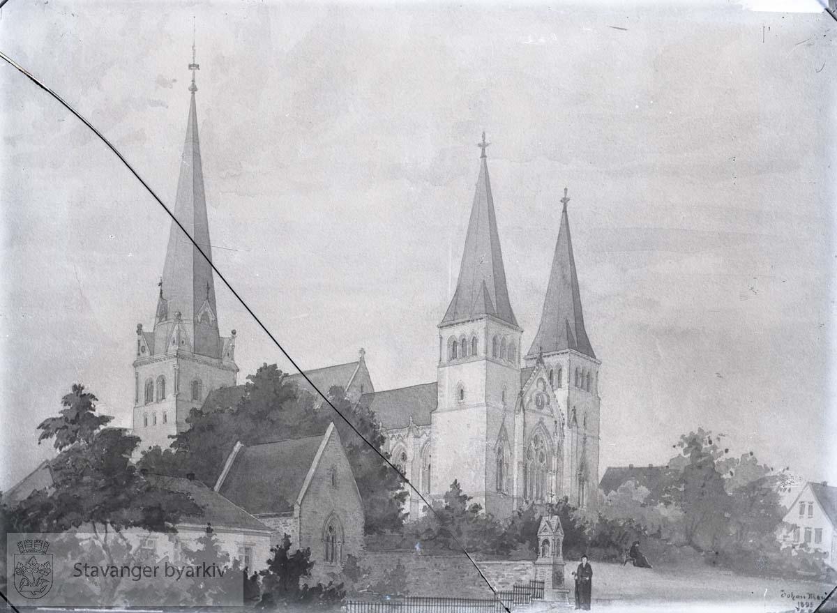 Tegning med Johan Meyers forslag til tårn.