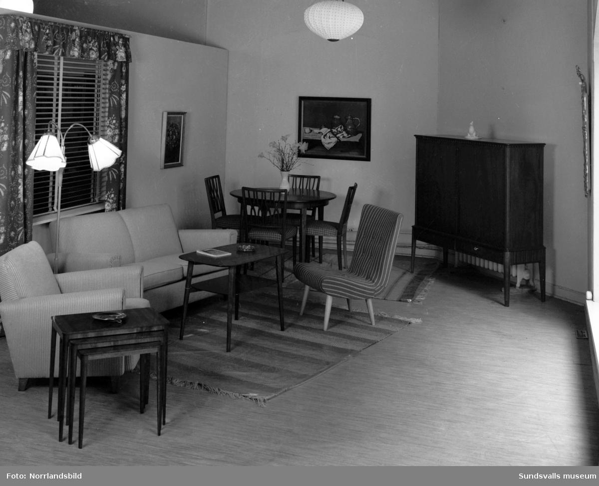 Möbler, miljöer och heminredning på Engelfeldts möbelaffär, Bankgatan.