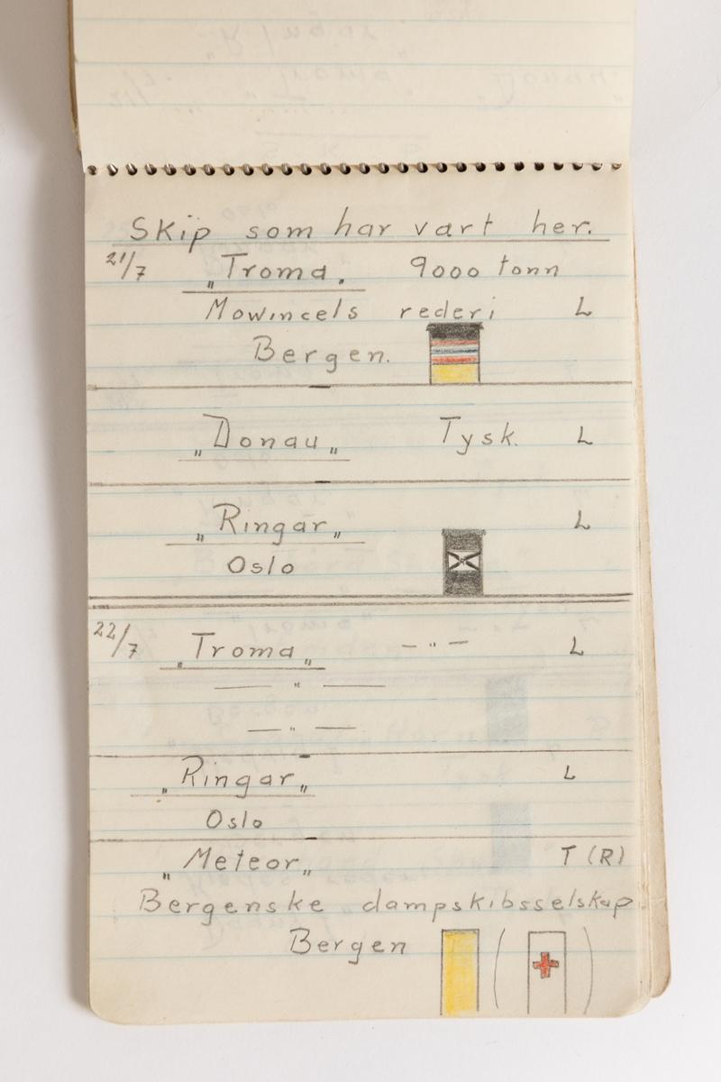 Ei lita spirablokk med nedtegnelser fly- og båttrafikk i Harstad sommeren 1942, ofte illustrert med fine tegninger.