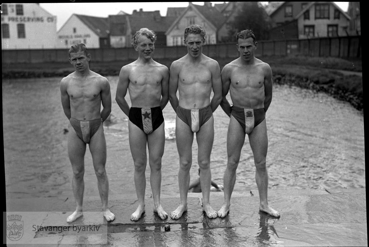 Arbeidersvømming, svømmere fra Stavanger og Bergen. Svømmere.