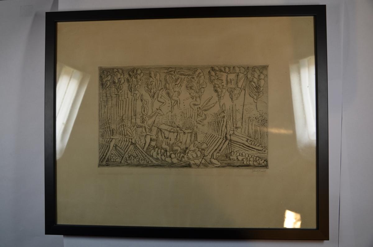 """""""Beethovens sørgemarsj"""" av Josef Hecht, 1915. Signert av kunstneren på baksiden."""