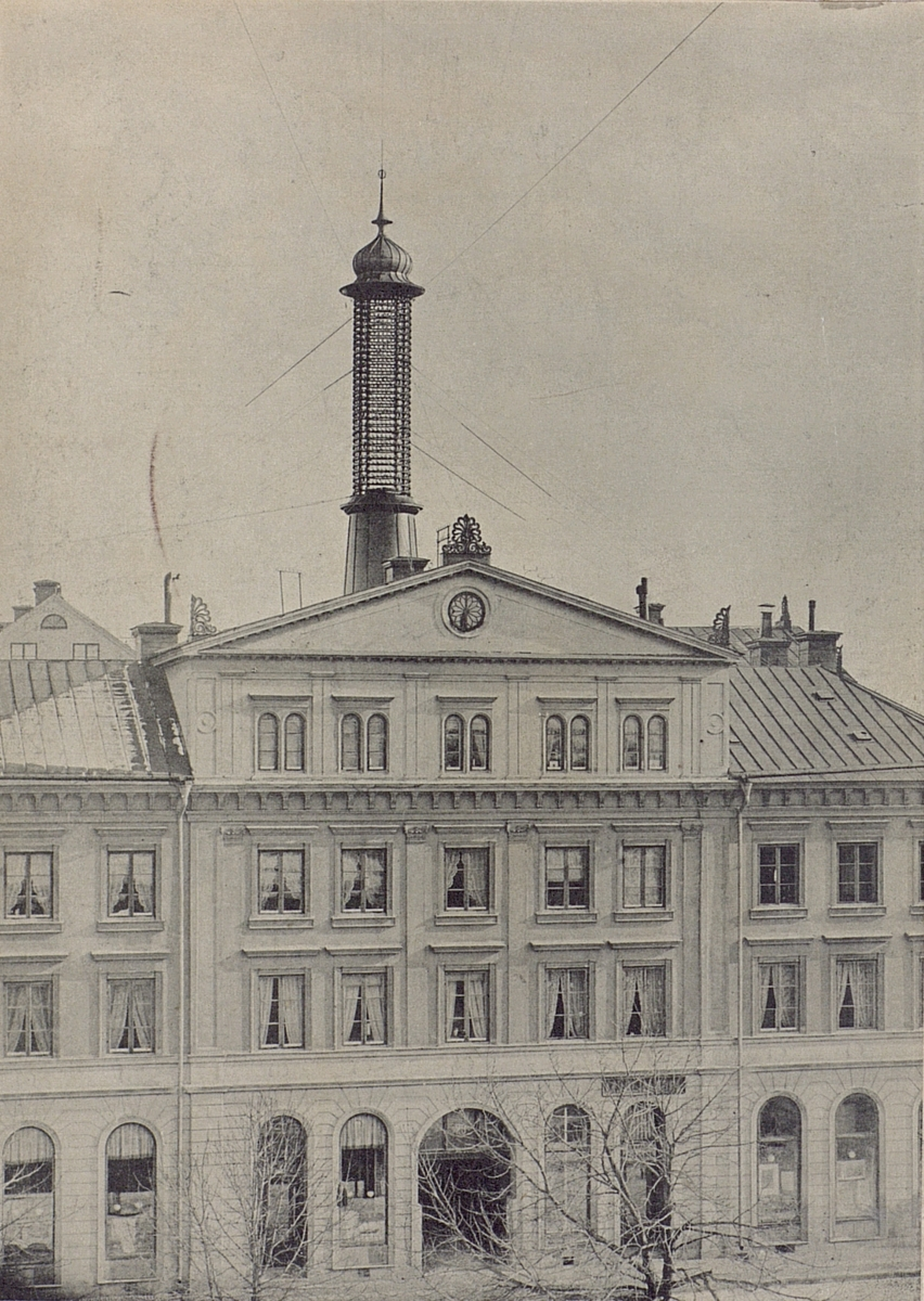 Telefontornet i Uppsala omkring 1891 - 92. Sthlms Allm. Telefon AB.