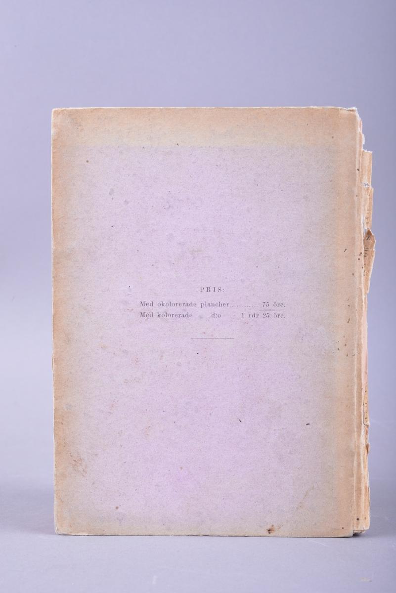 Bok med stive permer. Sidene og permen er sydd sammen i bokryggen. For- og ettersats av rosa papir. Selve boka har svarte trykte bokstaver på hvitt papir. Boka er illustrert. Til og med side 19 er det frakturskrift, mens resten av boka har vanlig trykkskrift med seriffer. Det er klistremerke fra forhandler på forsatsen.