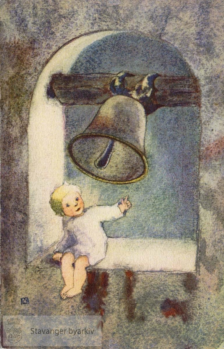 Akvarell av barn og kirkeklokke