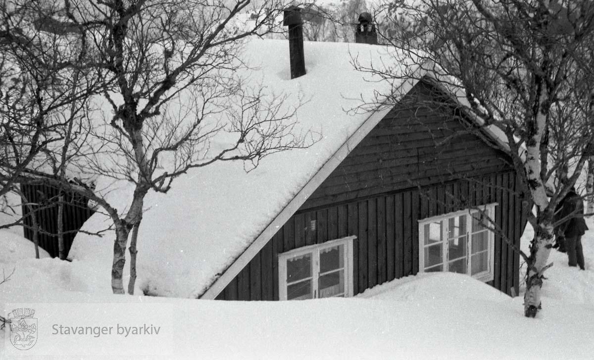 Norem Baades bedriftshytte på Giljastølen. Bedriftshytta sett fra utsiden, vinter. Utskilt fra PA293.