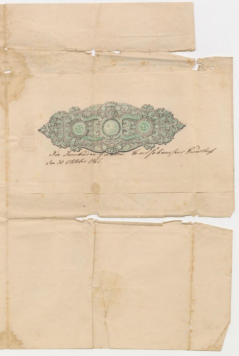 Gesällbrev och bok.  Brevet är utfärdat av Hantverks Föreningen uti sjö och stapelstaden Göteborg det 17 mars 1861 för lärlingen Carl Johansson.