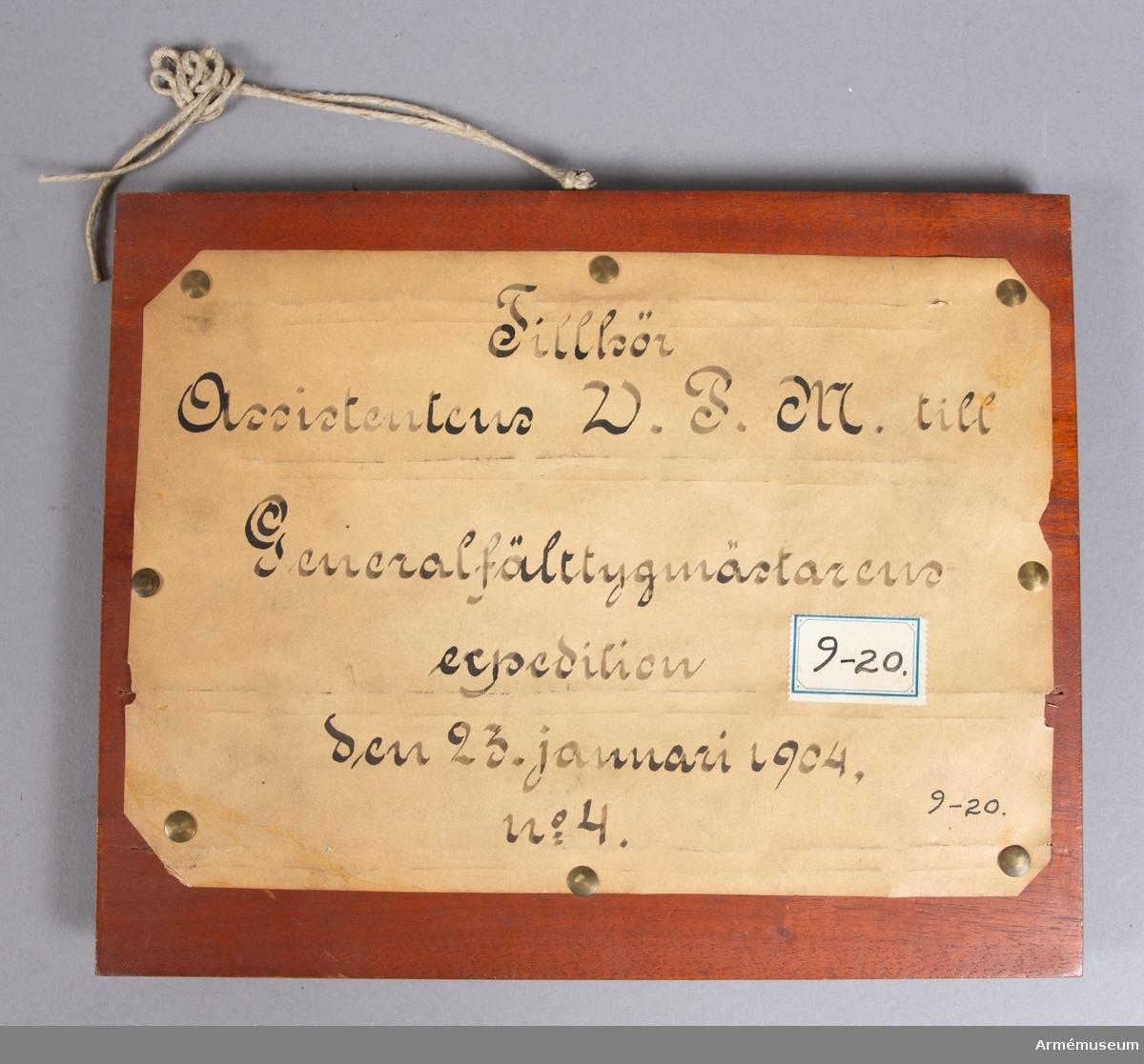 Grupp E V. Mont. på skiva märkt Ass. W.P.M. t Generalfälttygm. exp 1904. Nr 13.