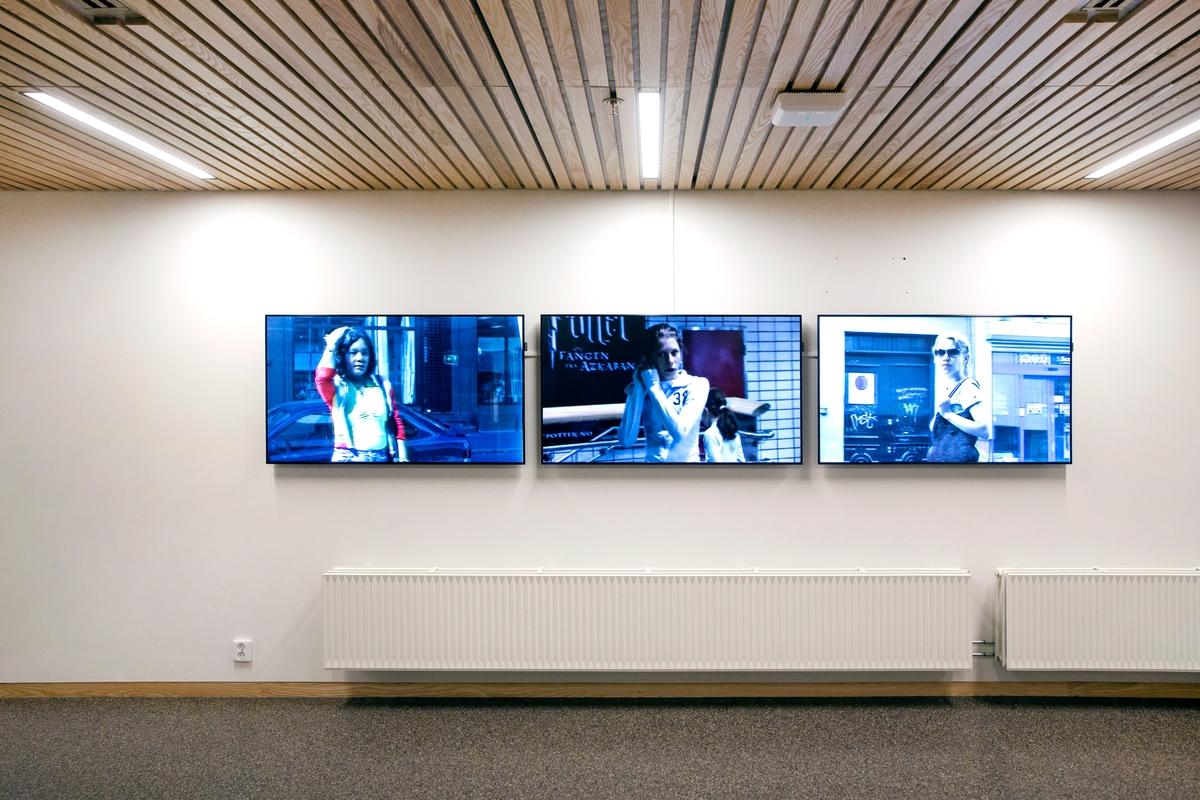 Tre-kanals videoverket The Lonely Crowd av Katja Høst, er filmet fra baksiden av vinduer dekket av speilfolie man finner rundt i byen. De som passerer vinduene kan ikke se kameraet, bare sin egen refleksjon. Hva tilskueren ser i filmene er folk som er bevisst på seg selv og sitt eget utseende. Vår kropp, våre klær, sminke og sosiale markører er ting som danner vår identitet og vårt samspill med andre. På den offentlige arena blir vi stadig mer overvåket av andre, men vi ser også oss selv, i et forsøk på å kontrollere hva andre ser. Filmen gir oss et sensitive portretter av ulike personer som går forbi, og samtidig forer betrakterens scopophilia. Sekvensene er lydløse og går i evig loop.