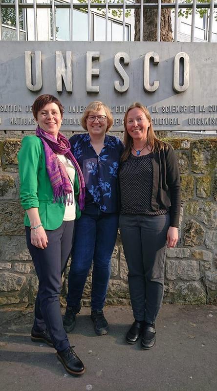 Siri Mæland (SFF), Camilla Rossing (NBF) og Marit Stranden (SFF) på møte i UNESCO's hovedkvarter i Paris, april 2019. (Foto/Photo)