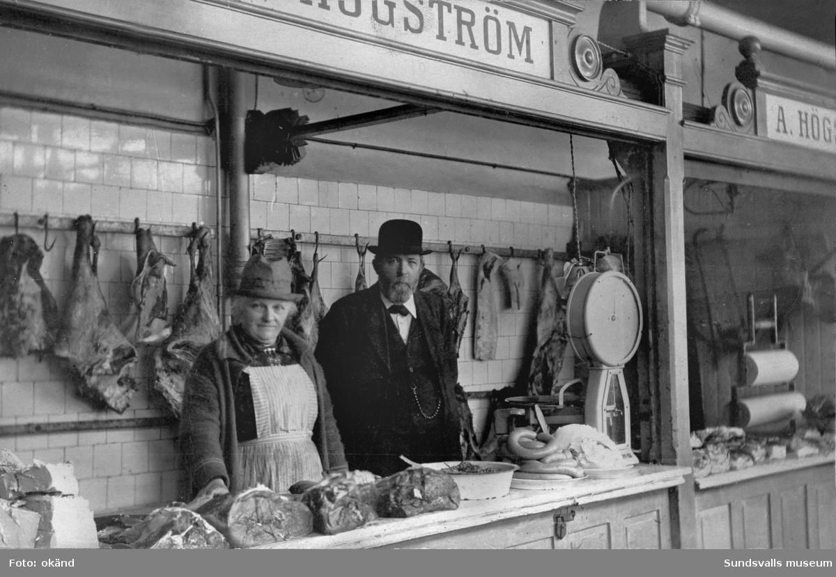Högströms köttbutik i Saluhallen, Holmströmska huset.