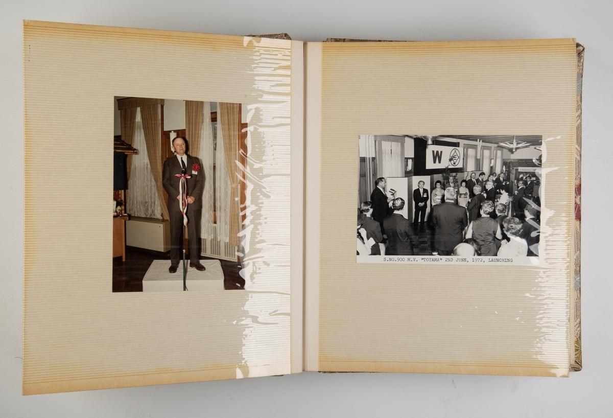 Album med fotografier fra sjøsettingen av containerskipet 'Toyama'.