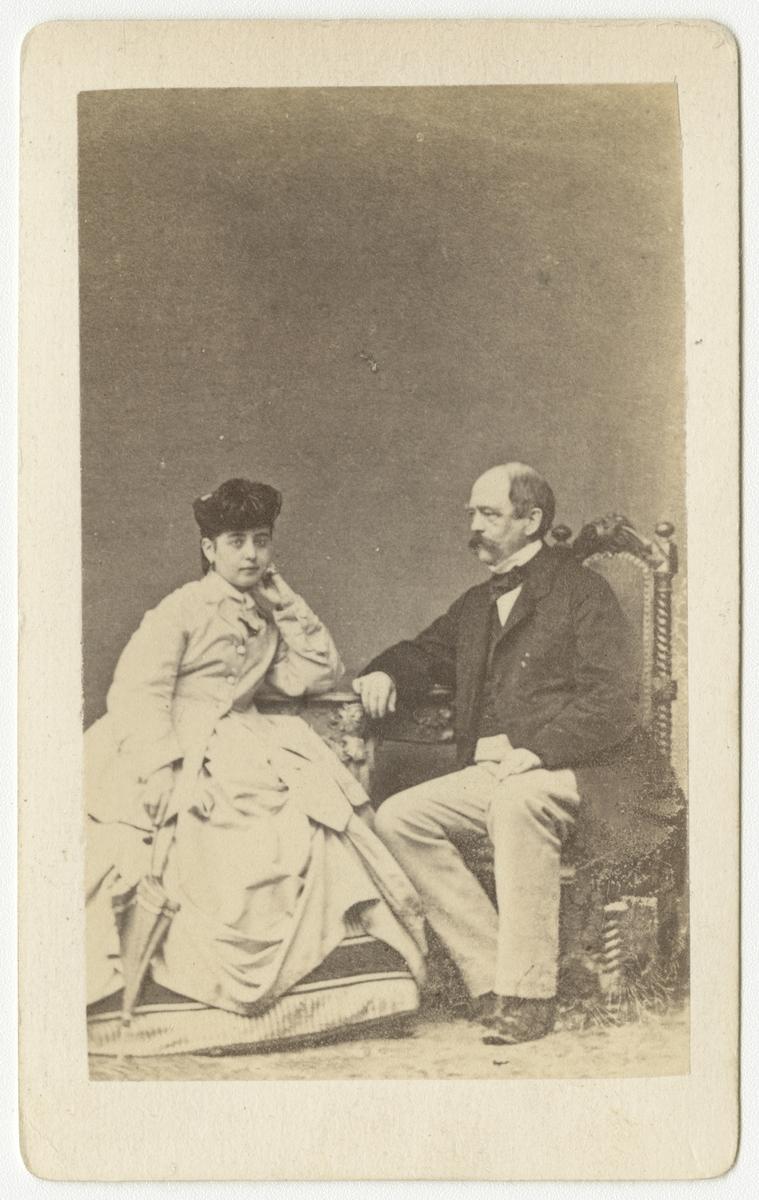 Porträtt av Otto von Bismarck och sångerskan Pauline Lucca.
