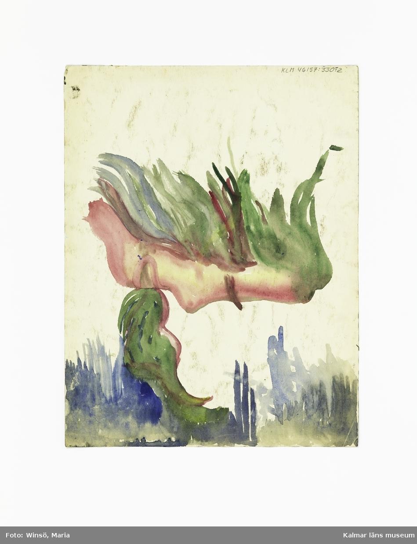"""1: Ansikte. Titel: """"Lustekurr! 2: Kvinnor i klänningar. Titel: Kvinnor 1951. Ansikte i profil som sprutar grön eld ur munnen (baksida). 3: Virvlande mönster. Titel: NERVOSITET."""