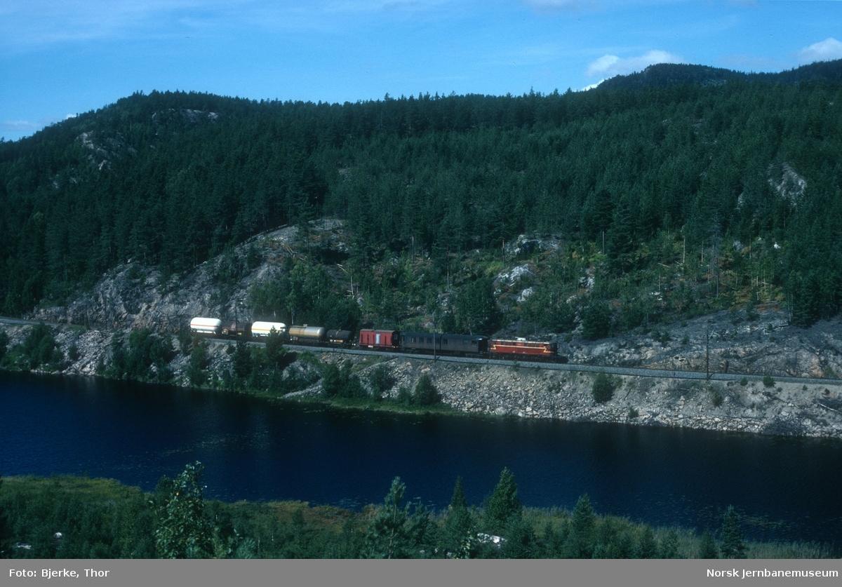Elektrisk lokomotiv El 8 2072 med godstog 5413 i nærheten av Valebø